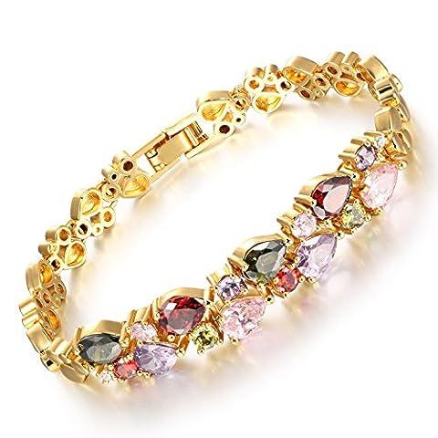 Iblue Damen 18K multi-gemstone und Diamant Tennis Armband Gold & Silber Herz Armbänder
