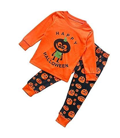 Halloween Pyjama Enfants Unisexe Ensemble de Pyjama Garçon Fille Enfant de citrouille Orange 5 ans