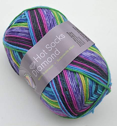 Doppelpack 2 x 50 gr. Gründl Hot Socks Diamond Farbe 05 Sockenwolle mit Merino / Merinowolle -