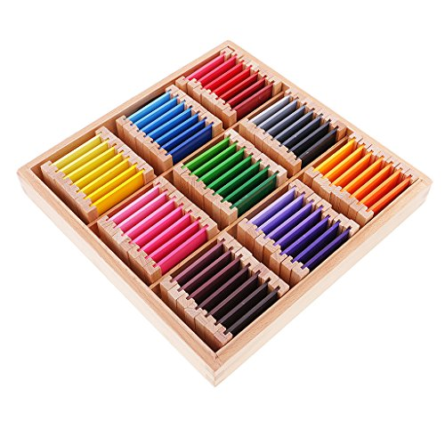 Farbkarte Puzzle (MagiDeal Montessori Sensor Material: 63 Faben-Box ( 9 Farben in 7 Stufen ), Kinder Farben-Lernen Lernspielzeug - L)