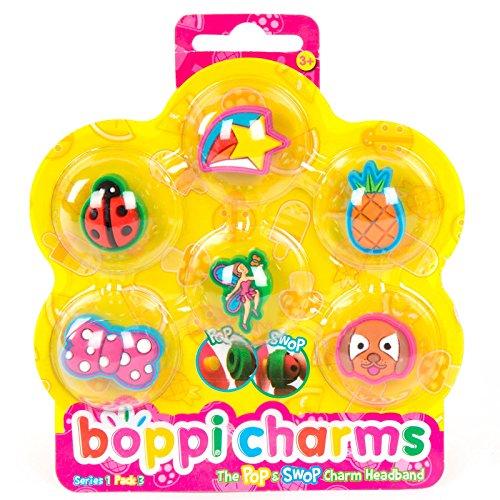 boppiband boppi Charms – Serie 1 Austauschbare Haarreif-Accessoires Set bestehend aus 6 sammelbaren Haarreif-Klipsen Series 1 Pack 3