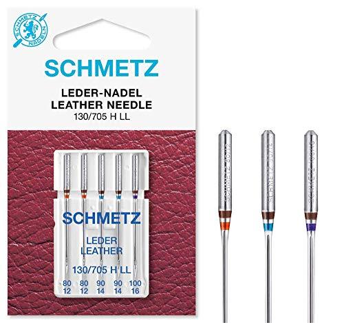 SCHMETZ Nähmaschinennadelset 130/705 H LL | 5 Leder-Nadeln | Nadeldicke: 2X 80/12, 2X 90/14, 1x 100/16 -