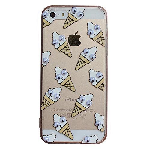CKCY iPhone 5S Fall, Serie Niedliche Verdrehte beweglichen Augen Back Schutzhülle Slim Fit für Apple iPhone 5/5S (Sweet Kreis), iPhone 5/5s/SE, Ice Cream