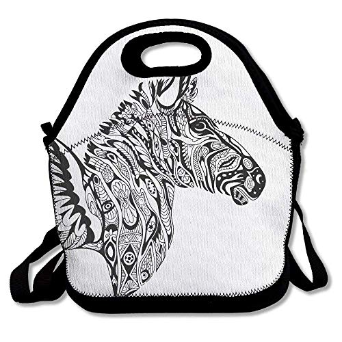 Icndpshorts Cool Zebra Wings Flying Lunch Tote Bag Bags Awesome Lunch Handbag Lunchbox Box for School Work Outdoor Womens Zebra Pony