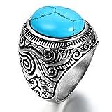 JewelryWe Bijoux Bague Homme Vintage Classique Résine Mariage Anniversaire Acier Inoxydable Anneaux Fantaisie Couleur Argent Bleu Largeur 2.2cm Avec Sac Cadeau(Taille de Bague 62)