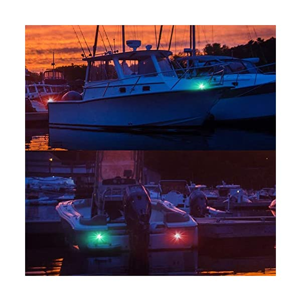 Fydun 12V LED Flush Mount Side Bow Navigation Signal Light 2Pcs 120° Lamp for Marine Boat Yacht Green 61.5lm&Red 19lm 5
