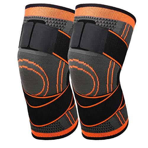 MoKo Kompression Kniebandage, 2 Stück Einstellbar Knieschoner Knie Sleeve Knieschützer mit Band für Laufen Fußball Basketball Arthritis Gelenkschmerzen Genesung nach Verletzungen, XL - Orange/Grau