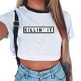 Baijiaye Camiseta para Mujer Patrón Impreso Crop Top Chica Joven Casual De Moda Media Cintura Top Corto Blusas De Señora T-Shirt Patrones#2 M