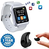 Drumstone White Bluetooth U8 Smart Watch with Pedometer,Call Reminder, Remote Camera With Mini Ultra-small S530 4.0 Stereo Bluetooth Headset Compatible with Xiaomi Mi, Lenovo, Apple, Samsung, Sony, Oppo, Vivo Smartphones (One Year Warranty)