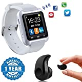 #5: Drumstone White Bluetooth U8 Smart Watch with Pedometer,Call Reminder, Remote Camera With Mini Ultra-small S530 4.0 Stereo Bluetooth Headset Compatible with Xiaomi Mi, Lenovo, Apple, Samsung, Sony, Oppo, Vivo Smartphones (One Year Warranty)
