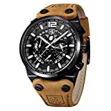 Benyar Sport Mens Watches Military Skeleton Chronograph Quartz Man Outdoor Large dial Watch Army Men's Watch Bracelet Brown Strap Watch