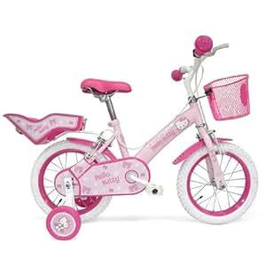 Hello Kitty Produit Officiel Vélo Fille 14 pouces (35,56cm) - Hauteur du siège réglable - Freins à l' avant et l' arrière - Sonnette chaton, siège poupée, panier & petites roues - Rose et blanc