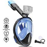 VILISUN Vollmaske Schnorchelmaske Tauchmaske Vollgesichtsmaske mit 180° Sichtfeld, Dichtung aus Silikon Anti-Fog und Anti-Leck Technologie für Alle Erwachsene und Kinder (Blau schwarz, L/XL)