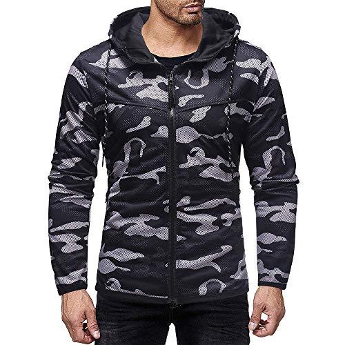 FeiBeauty 2018 Herren Freizeitjacke Hoodie Pullover Jacke Übergangsjacke Camouflage Print Jacke Zip Jacke Pilot Jacke Sport Outdoor Slim...