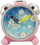 Eurotime  Wecker für Mädchen mit Schmetterling/Blumen-Motiv, Kunststoffgehäuse und Kunststoffglas, geräuscharmer Wecker, Kein Ticken, mit Licht und Weckwiederholung, 24050-22