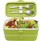 Veggycook Fiambrera Bento 1200ml Dos Compartimentos con Cierres Hermeticos Acero inoxidable Cubiertos Incluidos lunch box ideal para niños y adultos (Verde)