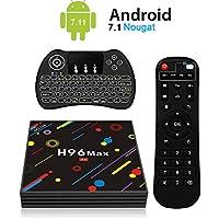 H96 Max Android 7.1 TV Box [4GB/32GB/4K] RK3328 Quad Core 64Bits Dual WiFi 2.4GHz/5.0GHz Bluetooth 4.0 H.265 con Mini Teclado Retroiluminado Inalámbrico Smart TV Box