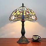 12 Zoll Antiqye American Styie Kreative Vintage Pastorale Libelle handgemachte Glasmalerei Tischlampe Schreibtischlampe