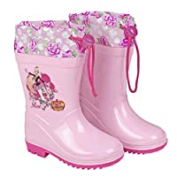 PERLETTI Disney Regal Academy Rain Boots for Girls - Waterproof Wellies Shoes Anti Slip Outsole - Colored Wellington for Girl with Princess - Pink Fuchsia Sole and Flowers - 5 Size