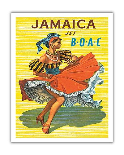 Pacifica Island Art - Jamaika - British Overseas Corporation BOAC - Tänzerin in Traditioneller Tracht - Retro Flugreise Plakat von Hayes c.1950s - Kunstdruck 28 x 36 cm