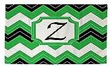 Manual Woodworkers & Weavers dobby Bath Rug, 4by 6-feet, Monogrammed Letter Z, Black chevron