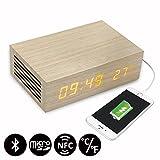 Homtime M9 réveil en bois avec haut-parleur Bluetooth NFC, double chargeur USB pour smartphone, mains libres, affichage LED (Chêne)