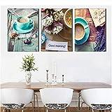 Gstbgbr wandaufkleber 3 PanelPrinted Stil Life Kaffee Malerei Leinwandbild Küchenbilder Wohnzimmer Dekoration