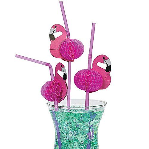 Preisvergleich Produktbild 12 x Strohhalme Trinkhalm Flamingo Sommerparty Hawaii Party Sommerfest Strandparty Fingerfood Snacks Buffet