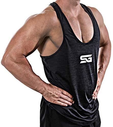 Satire Gym Fitness Stringer Herren - Funktionelle Sport Bekleidung - Geeignet Für Workout, Training - Tank Top (schwarz meliert - weißer Print, S)