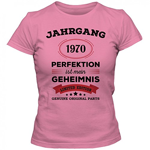 Jahrgang 1970 T-Shirt | Geburtstags-Shirt | Perfektion ist mein Geheimnis | 47. Geburtstag | Frauen | Shirt © Shirt Happenz Pink (Orchid Pink L191)