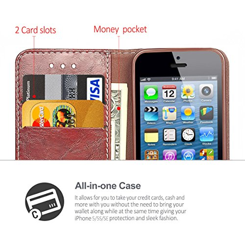 iPhone 5 Hülle,Hochwertig handyhülle iPhone 5 mit klappe tasche handyhuelle schutzhülle Handys Schutz Hülle PU Leder magnet handytasche bookstyle Flip Case für Apple iPhone 5 5S SE mit Ständer - Grau Braun