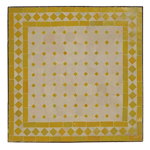Casa Moro Orientalischer Mosaiktisch Beistelltisch 45 x 45 Gelb