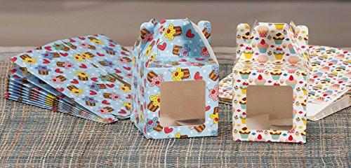 Set 20 pz scatoline portadolci in carta cm. 8 x 8 x 8 con finestra PE ass. in 2 disegni