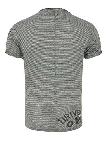 Key Largo Herren T-Shirt SIGN mit Vintage Print Garage Gestreift Knopfleiste V-Ausschnitt Grau