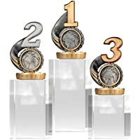 pokalspezialist Pokal, Trophäe Zahl/Platz 1,2,3 mit Glassockel Größe S, M und L
