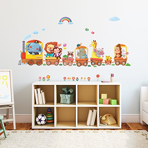 Decowall DA 1406A Animal Trains Kids Wall Stickers Wall Decals Peel And  Stick Removable Wall Stickers For Kids Nursery Bedroom Living Room