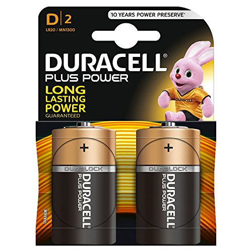 Duracell  LR20/ MN1300 Plus Power Typ D Alkaline Batterien, 2er Pack - 2 Pack 9v-batterie