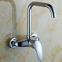 SLT - interamente in rame rubinetto della cucina piscina di acqua del rubinetto a muro oscillazione parete acqua calda e fredda doppio foro balcone lavanderia doppio manico