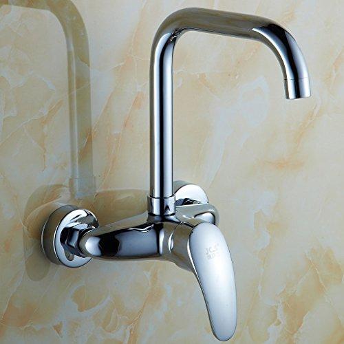 Doppel-wand-wasser (All-Kupfer Wand-Küchenarmatur Schaukel Wand Wasser Warm-und Kaltwasser Doppel-Loch-Balkon Wäsche-Pool Wasserhahn Doppelgriff)