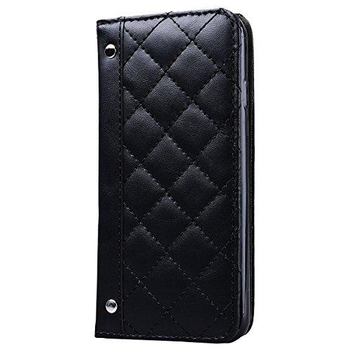 Coque iPhone 7, HB-Int Housse de Protection PU Cuir Portefeuille Case Cover Etui a Rabat Flip Antichoc Cas Couverture pour Apple iPhone 7 - Blanc Beige Noir