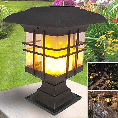Luce solare esterna | Lanterna solare a fiamma fiammeggiante | Lampada di illuminazione senza fili a LED a parete solare | Luci notturne fissate al muro impermeabili per il patio del cortile delle