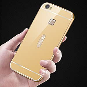 Droit Luxury Metal Bumper + Acrylic Mirror Back Cover Case for Vivo V3Max By Droit Store + Portable & Bendable Silicone, Super Bright LED Lamp, 360 Degree Flexible by Droit Store.