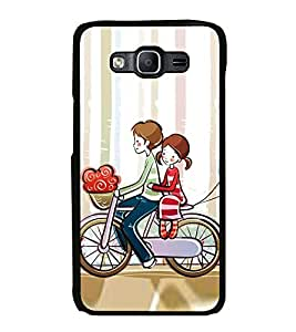 Printvisa Ultra Love Couple on Cycle 2D Hard Polycarbonate Designer Back Case Cover for Samsu...