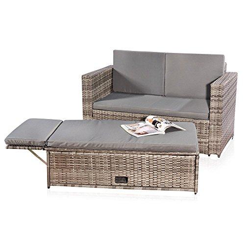 Melko Gartenset, Poly Rattan, Lounge Sofa-Garnitur mit klappbarer Fußbank, Schwarz, inklusive Kissen, mehrteilig, Grau -