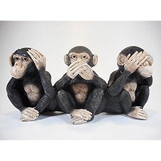 3 Affen nichts hören sehen sagen 23cm Afrika Affe Skulptur Figur Deko COR 117 gr