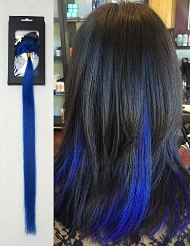 Luwigs 18inches Blue Clip in Hair Extensions Straight 100% Human Virgin Hair Fashion Hairpieces for Party Highlight 5pcs/set (18 inches, Blue)