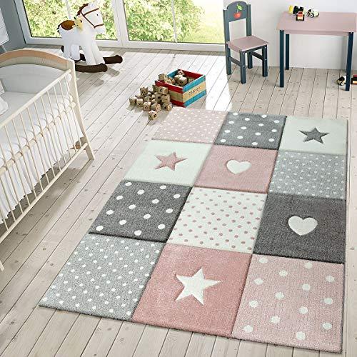 TT Home Alfombra Infantil De Juego Cuadros Puntos Estrella Luna Pastel Rosa Blanco Gris, Größe:140x200 cm