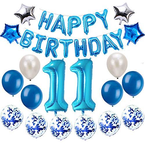 Oumezon 11 Geburtstag Dekoration Blau, 11. Geburtstag deko für Mädchen Jungen Happy Birthday Girlande Banner Folienballon Konfetti Luftballons Deko Geburtstag Party Anzahl Ballons