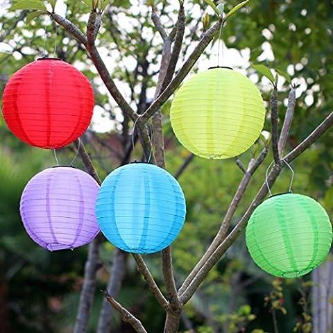 Oyedens LED Lights Solaire lumières Suspendues Lanternes en Papier Ronde