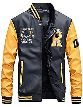 Hombres Chaqueta de cuero Cuero de la PU Chaqueta de béisbol Colores mezclados Abrigo de pieles Amarillo M